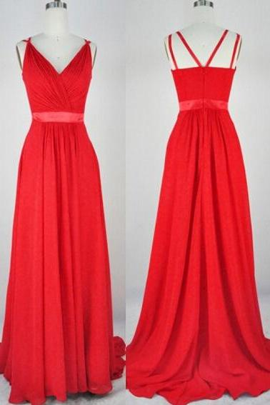 Red Chiffon Prom Dress, Spaghetti Straps Prom Dress, V neck Prom dress, Pleated Prom Dress, Red Evening Dress 2019