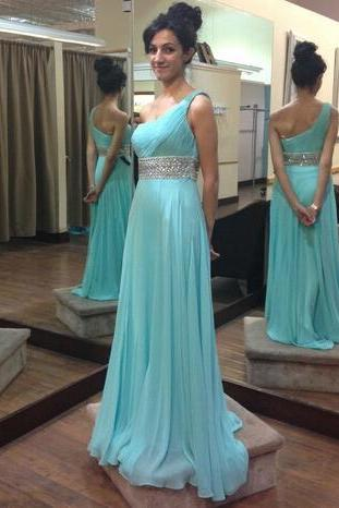 One Shoulder Prom Dress, Beaded Prom dress, Pleated Prom Dress, Long Women Dress 2019