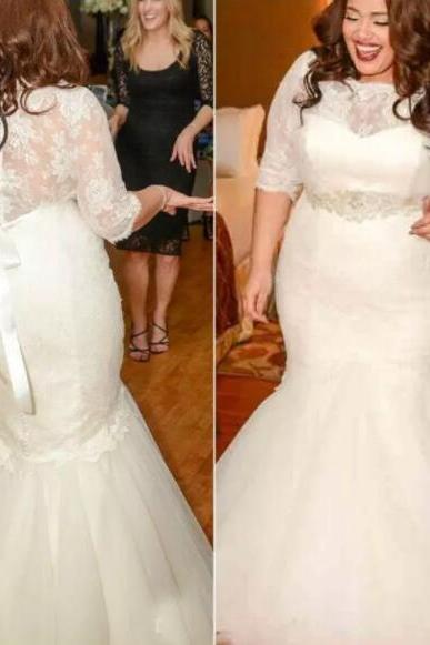 Plus Size Wedding Dress, Half Sleeves Tulle Bridal Gowns, Mermaid Tulle Wedding Dress, Lace Women Bridal Dress 2019