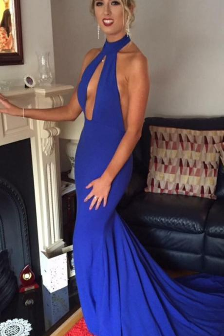 Royal Blue Mermaid Prom Dress, Halter Neck Prom Dress, Floor LEngth Women Evening Dress 2019