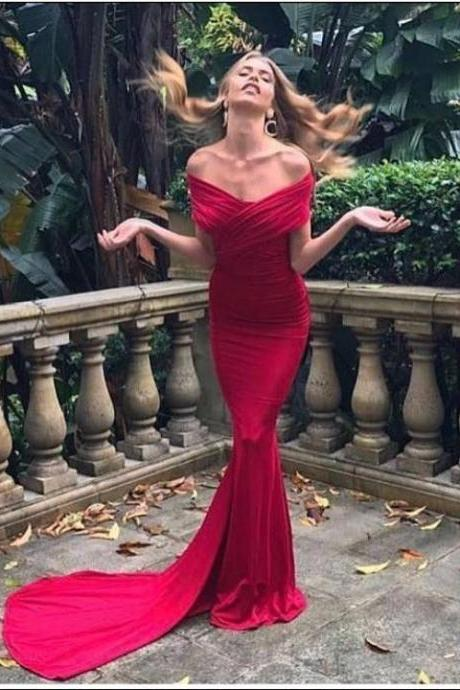 Off the Shoulder Mermaid Long Red Prom Dress Floor Length Women Evening Dress 2019