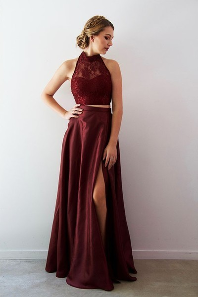 2 Pieces Long Satin Prom Dress,Halter Neck lace Appliques Evening Dress 2019