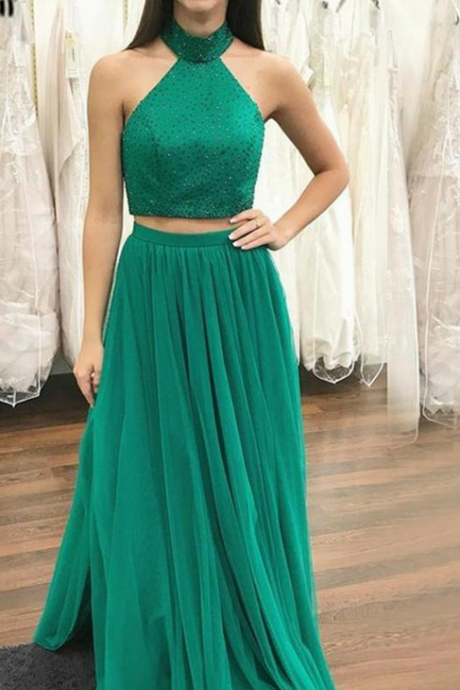 2 Pieces Long Green Tulle Prom Dress Halter Neck Floor Length Women Party Dress 2019