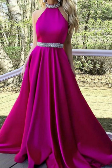 Halter Neck A-line Satin Prom Dress Beaded Floor Length Women Evening Dress 2019