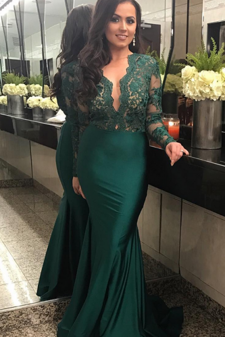 Long Sleeves Sheath Satin Prom Dress Lace Appliques Women Green Evening Dress