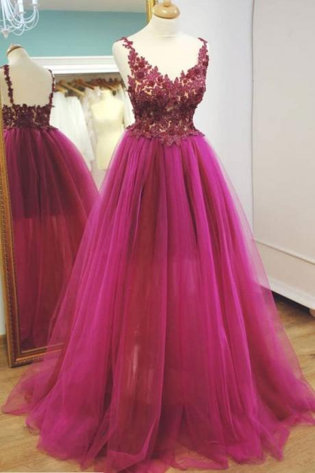 Women's Long A-line Tulle Prom Dress Lace Appliques Floor Length Women Evening Dress 2019