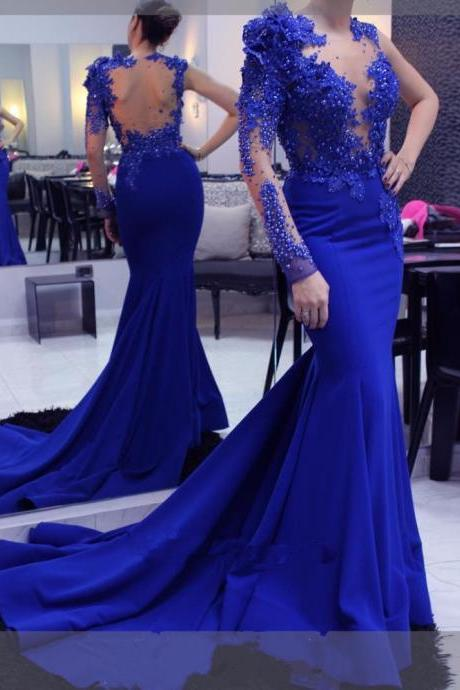 One Shoulder Long Sleeves Mermaid Royal Blue Satin Prom Dress Lace Appliques Beaded Women Evening Dress