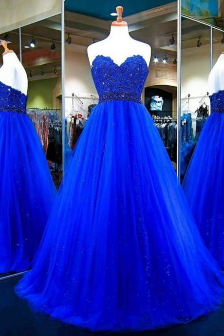 Strapless A-line Tulle royal Blue Prom Dress lace Appliques Beaded Women Dress 2019