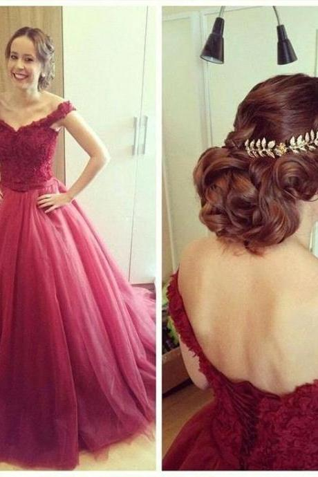 Charming Long Tulle Prom Dresses Off Shoulder Party Dresses Floor Length Dresses