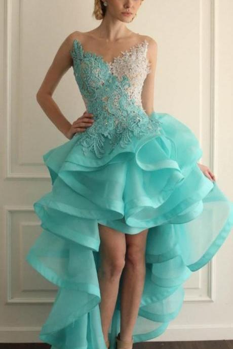 High Low Ruffle Organza Prom Dress Lace Blue Women Party Dress