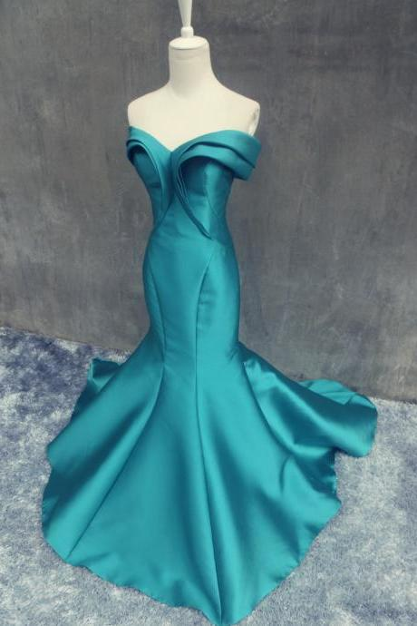 Elegant Mermaid Soft Satin Prom Dresses Sweetheart neck Floor Length Party Dresses