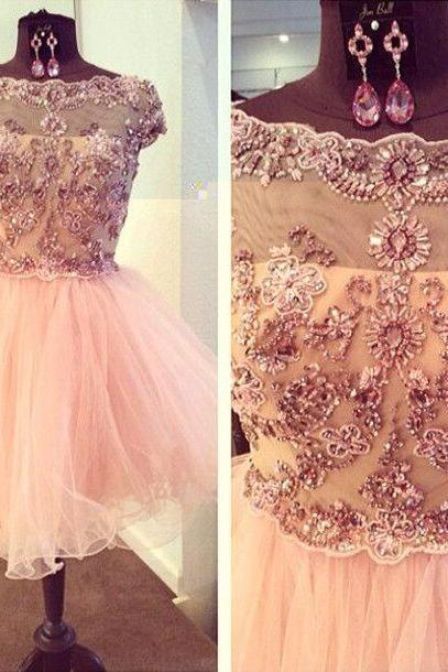 Short Tulle Homecoming Dresses Lovely Crystals Beaded Party Dresses
