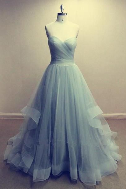Rushed Light Blue Tulle Prom Dress Strapless A-line Long Women Party Dress