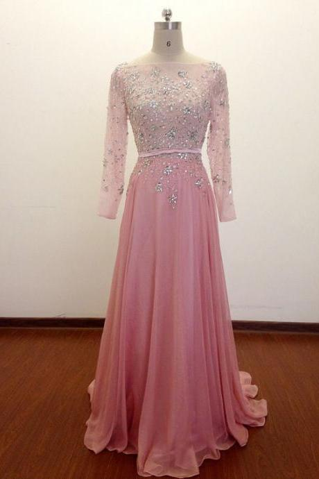 Scoop Neck Chiffon Prom Dress Long Sleeves Beaded Women Party Dress