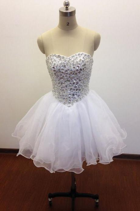 Women's Short Tulle White Prom Dress Above Knee Crystals Cocktail Dresses