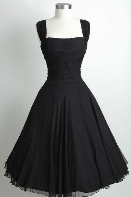 Short Black Chiffon Homecoming Dresses, Party Dresses