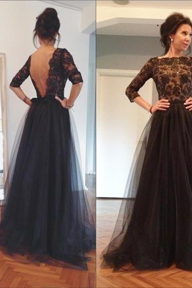 3/4 Sleeves Long Black Tulle Prom Dresses with Appliques