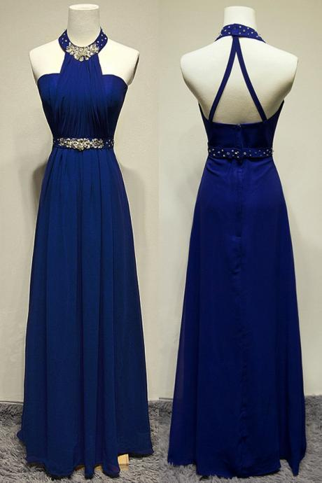 Royal Blue Chiffon Prom Dresses Halter Neck Beaded Women Party Dress