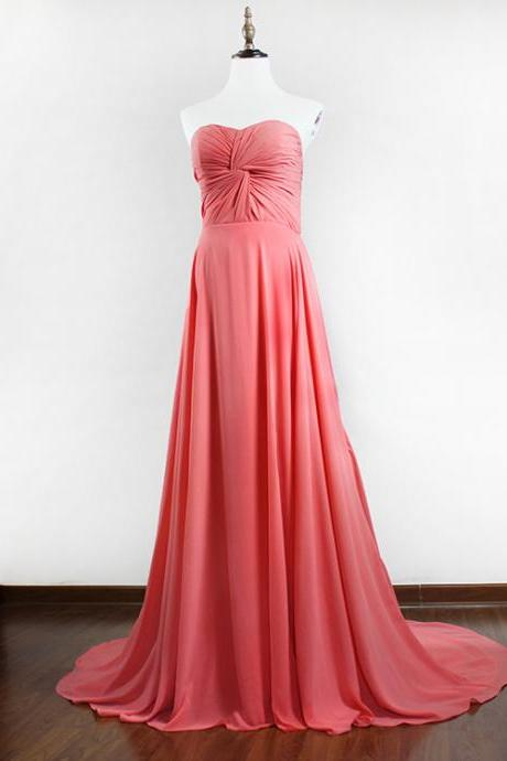 Strapless long Chiffon Prom Dresses Formal Floor Length Party Dress