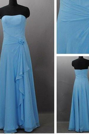 Simple Long Chiffon Bridesmaid Dress for party