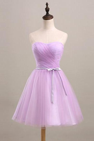 Purple Short Tulle Homecoming Dress sweetheart Bow tie Women Party Dress