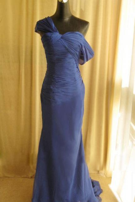 Mermaid Chiffon Blue Evening Dresses One Shoulder Long Formal Party Dresses