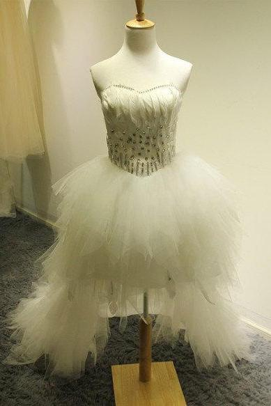 High Low Tulle White Prom Dress Strapless Beaded Women Party Dress