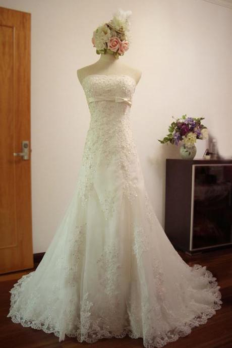 White/Ivory Mermaid Bridal Dresses Strapless Lace Wedding Dresses