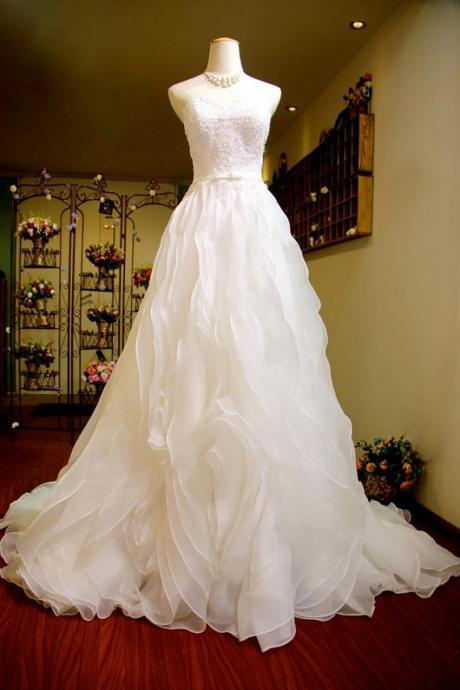 White Ruffle Organza Bridal Dresses Sweetheart Lace Appliques Wedding Dresses