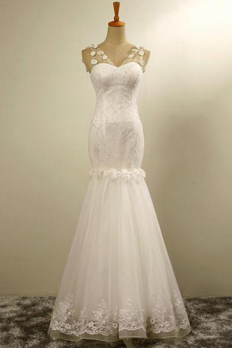 Sleeveless Beaded Mermaid Wedding Dress with Lace Appliqués and 3D Florals