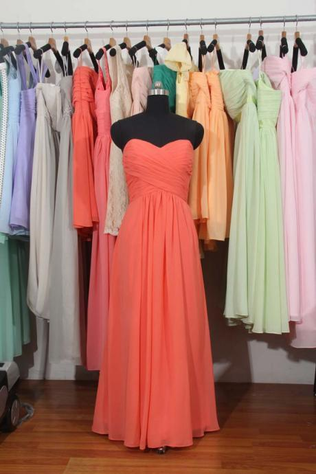 AF0703 Long Chiffon Bridesmaid Dresses Sweetheart Neck Wedding Party Dresses