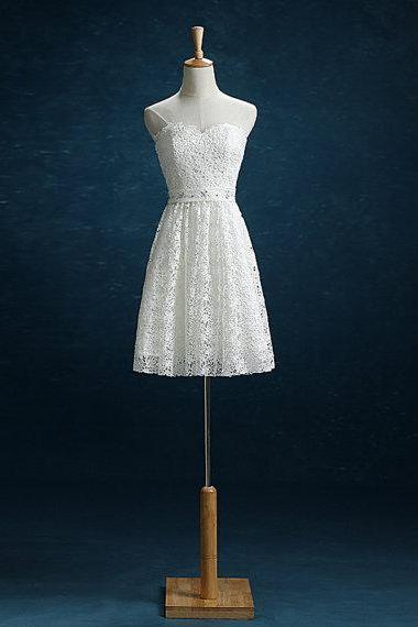 AF0705 Short Lace White Homecoming Dresses Above Knee Mini Dress
