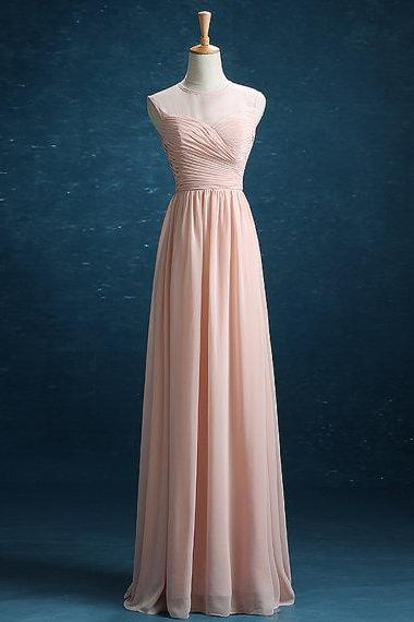 Pink Long Chiffon Evening Dresses Floor Length Party Dresses O-neck Women Dresses