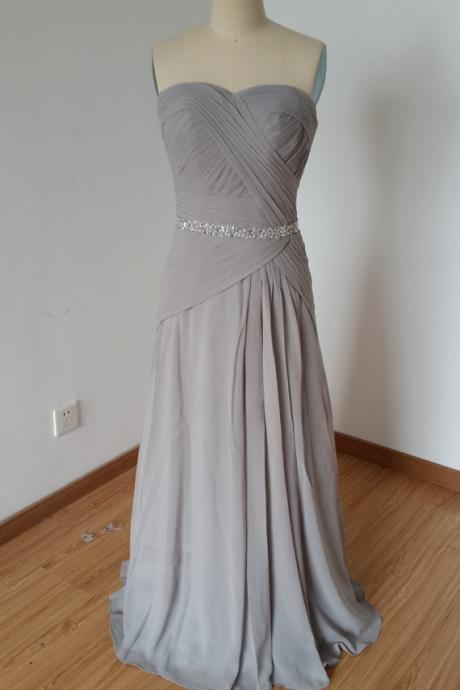 Long Chiffon Grey Prom Dresses Sweetheart Beaded Evening Dresses Party Dresses