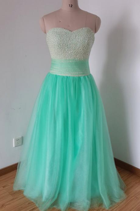 Charming Tulle Prom Dresses Beaded Party Dresses