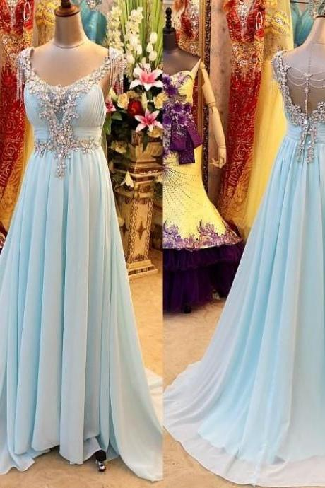 Scoop Neck Long Chiffon Prom Dresses with Crystals Party Dresses