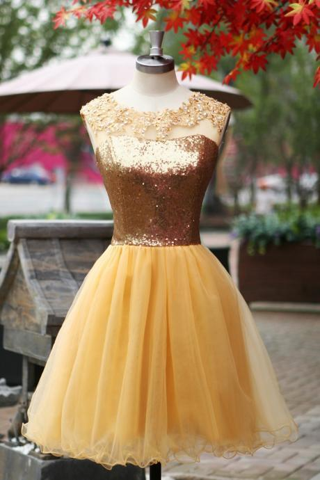Short Tulle Homecoming Dresses Appliques Shinning Sequined Lace Party Dresses