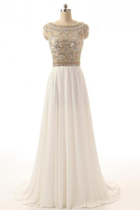 Custom Made White Bateau Neckline Beaded Crystal Adorned Long Chiffon Evening Dress, Prom Dresses, Wedding Dresses
