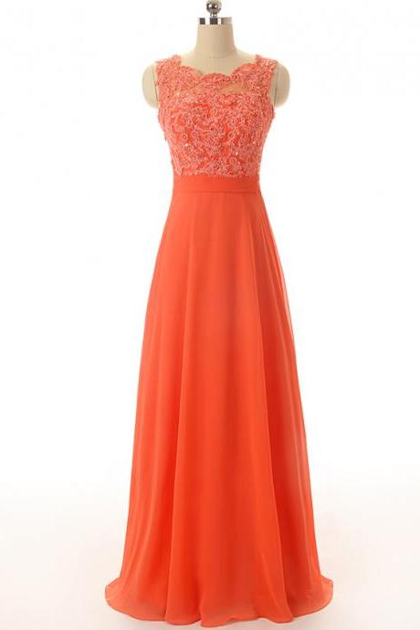 Long Chiffon Prom Dresses Appliques Crystals Floor Length Party Dresses