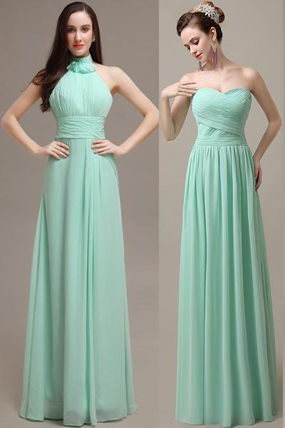 Long Green Chiffon Bridesmaid Dresses with Different Neckline