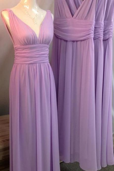 Long Purple Chiffon Bridesmaid Dresses V-neck Pleat Women Dress
