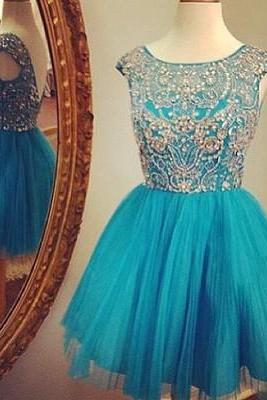 Scoop neck Blue Tulle Prom Dress Crystals Party Dresses Cocktail Dresses