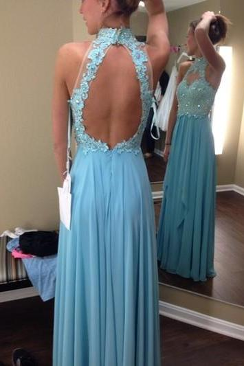 Open Back Long Chiffon Blue Prom Dresses Lace Appliques Floor Length Women Dresses