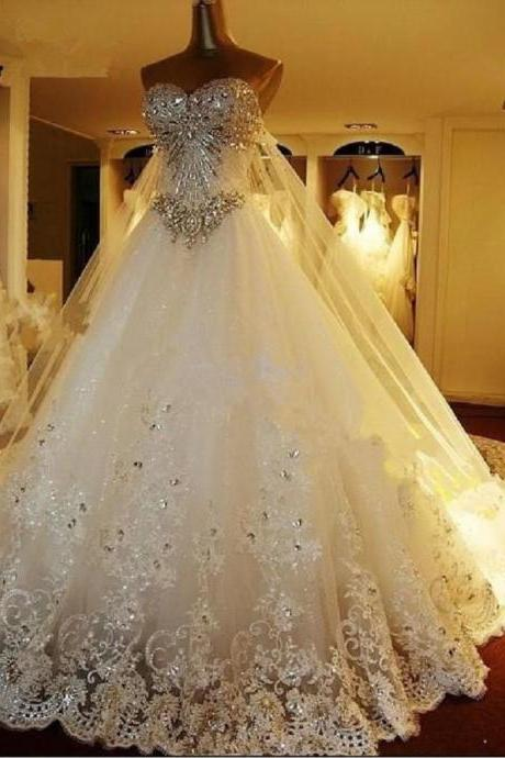 Crystal Tulle Lace Appliques Wedding Dresses
