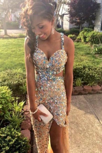 Sexy Shinning Crystals Beaded Prom Dresses Floor Length Spaghetti Straps Party Dresses