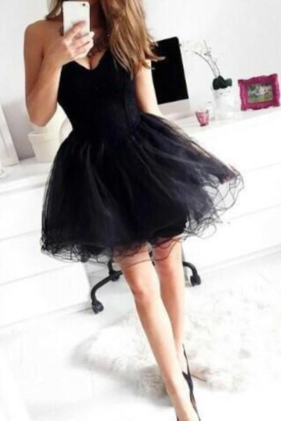 Short Black Dress Sweetheart Neck Homecoming Dresses