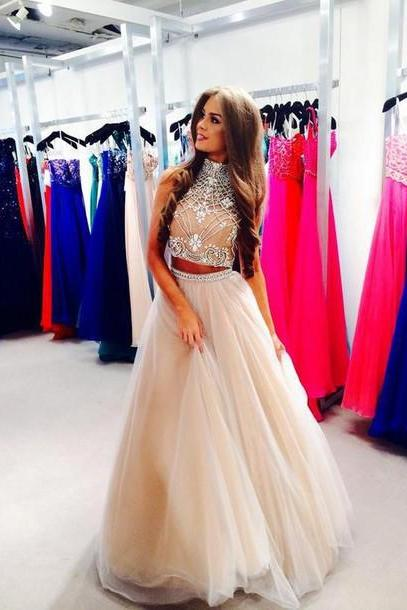 Two Parts Long Tulle Crystals Beaded Prom Dresses High Neck Party Dresses