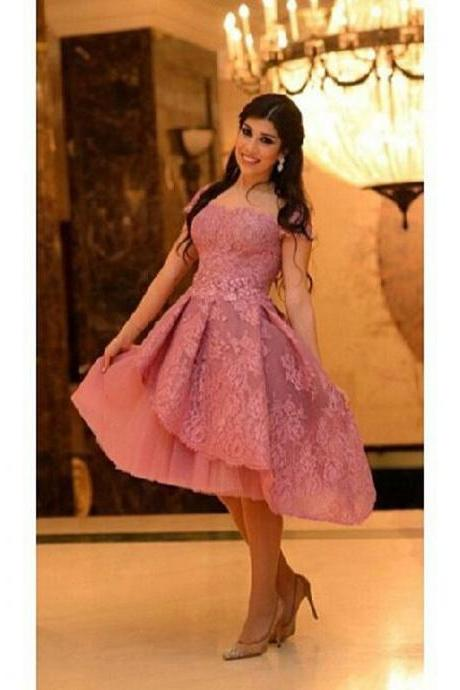 New Sweetheart Knee Length Tulle Pink Homecoming Dresses Appliques Party Dresses
