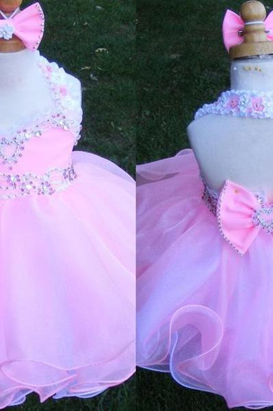 Lovely Short Tulle Crystals Beaded Flower Girl Dresses Crystals Beaded Mini Party Girl Dresses