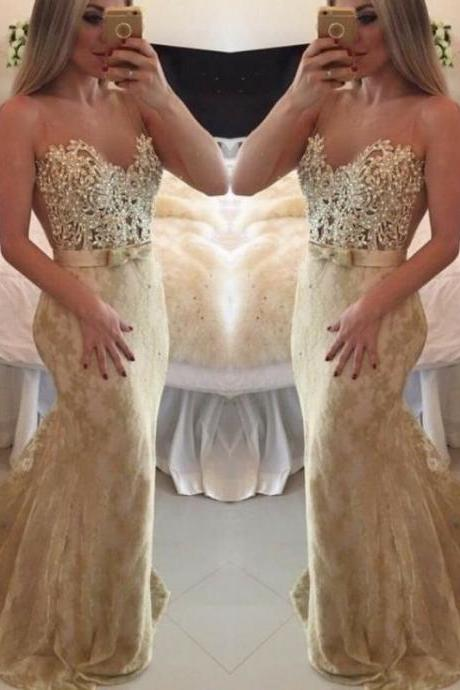 Backless Sweetheart Neckline Lace Applique Beaded Mermaid Prom Dress, Bridesmaid dress